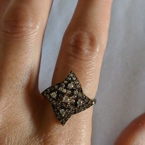 Diamond Shaped Ring .925 Silver Band Sz. 7.5